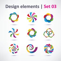 3 Conjuntos De Hermoso Vector De Diseño Gráfico Vibrante