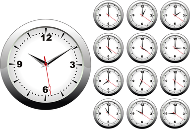 Clock on different times set