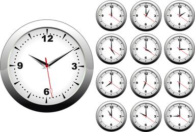 Relógio em diferentes horários definidos