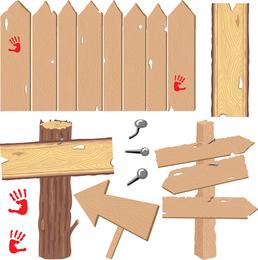 Itens de madeira de vetor