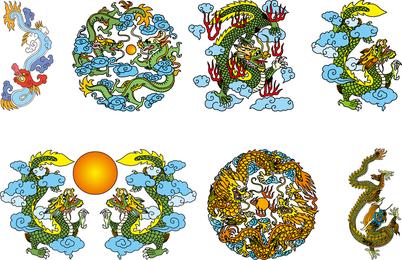 Dragón chino clásico vectorial de las tres