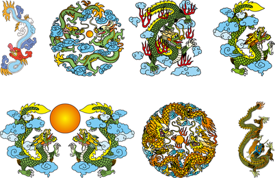 Vector dragão chinês clássico dos três