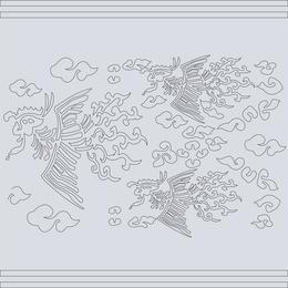 Clásico chino auspicioso Phoenix mapa vectorial
