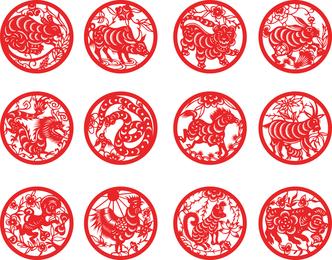 Zodiac Papercut Vector 2