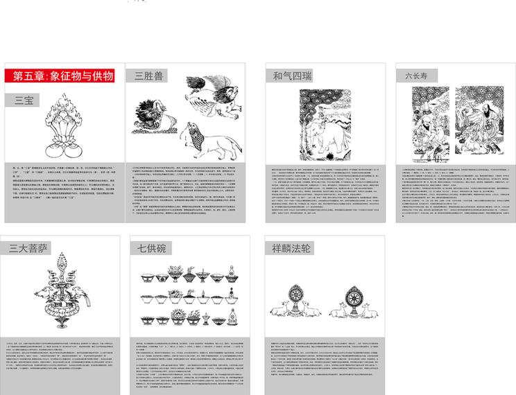 Mapa de objetos y símbolos budistas tibetanos V para objetos con Vector de símbolos