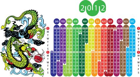 2012 Year Of The Dragon Calendar 1 Vector