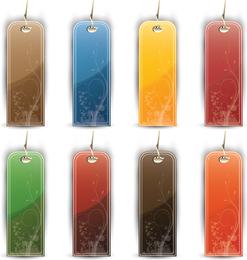 Etiquetas de colores y etiquetas conjunto de vectores
