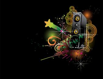 Dj Music Theme Vector