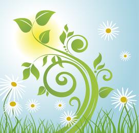 Ilustração em vetor árvore Primavera