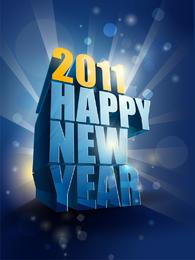 Feliz año nuevo 2011 3d Vector
