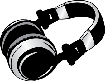 Headphone illustration in gray and black