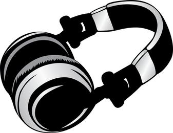 Ilustración para auriculares en gris y negro