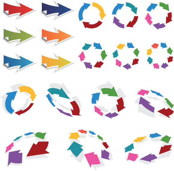 Colorido 3d Vector flechas conjunto