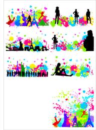 Personagem de cidade livre com gráficos de vetor de mancha colorida