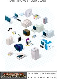 Conjunto de vectores de tecnología de los años 90