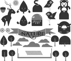 Flat gray forest elements