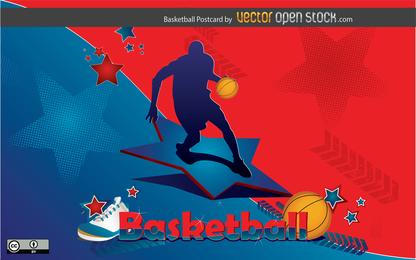 Diseño de tarjetas postales de baloncesto
