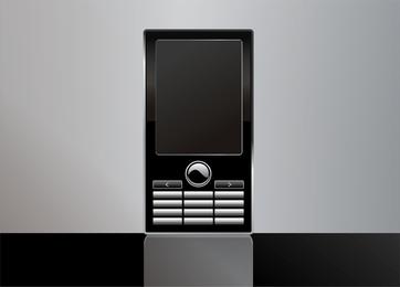 Ilustración de teléfono móvil en negro