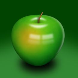 Green 3D apple
