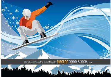 Snowboard nas montanhas