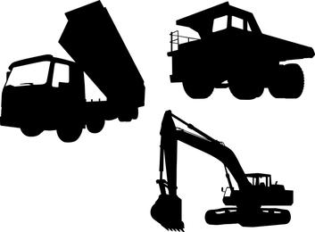 Siluetas de camiones y excavadoras.