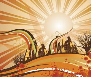 Papel de Parede Abstrato Da Cidade Nascer Do Sol
