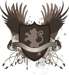 Diseño de escudo de cabeza de león