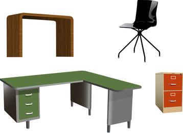 Muebles de oficina aislados vectores