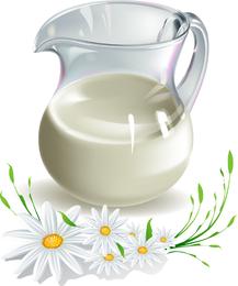 Ilustración de leche y manzanilla