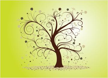 Ilustração de árvore com cachos e redemoinhos
