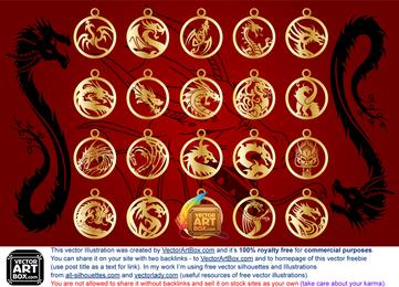 Vector amuletos de dragones