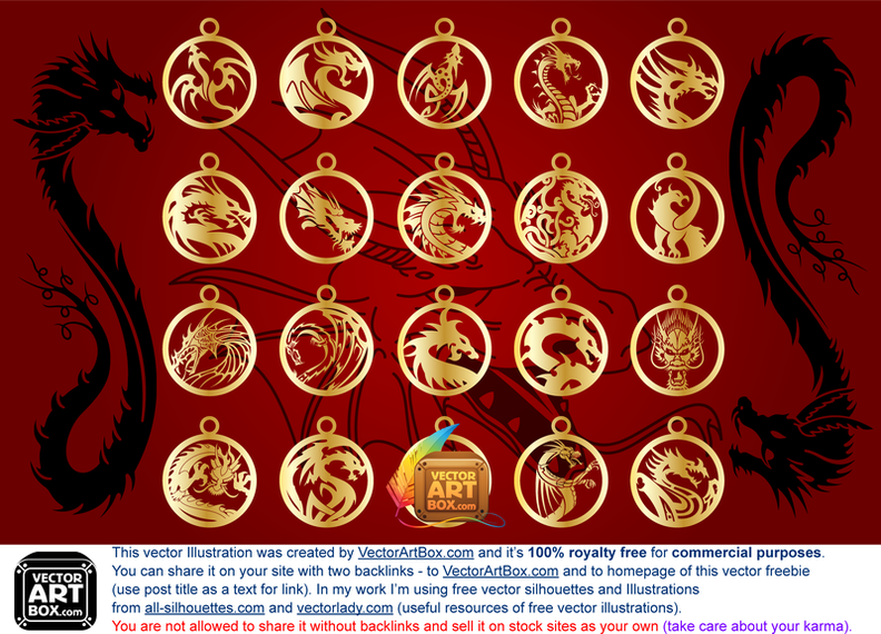 Vector Amulets Of Dragons
