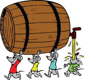 Ratones que llevan barril