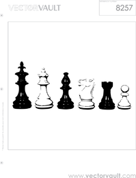 Black and white chess figures design