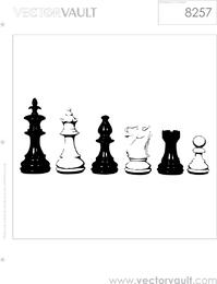 Figuras de xadrez preto e branco design