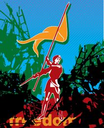 Ilustração de soldado de revolução com bandeira