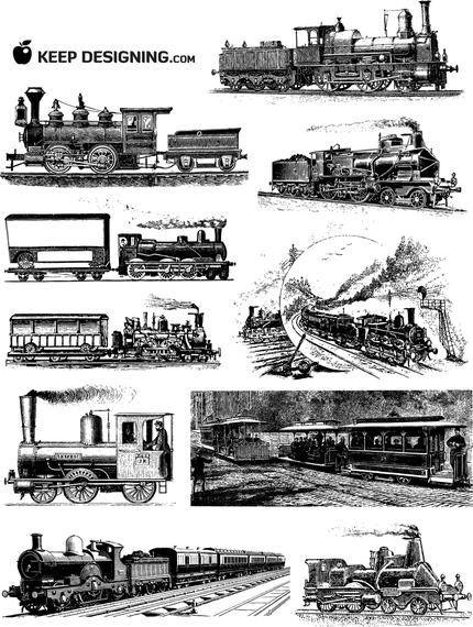 Train illustration set