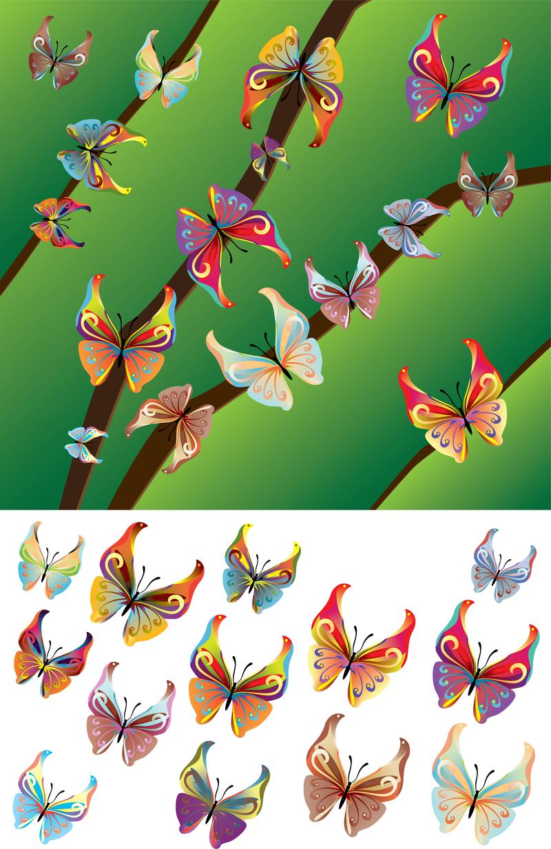 Vector Lindas Borboletas Da Borboleta Vector Adobe Illustrator  -> Borboleta Vetor