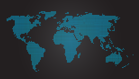 Blue dotted world map