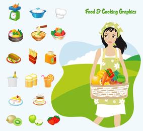 La cocción de alimentos Vector Graphics