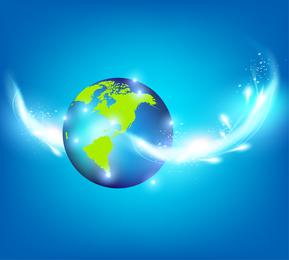 Blauer Planeten-kreativer Inspirations-Vektor