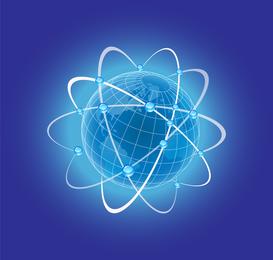 Globo azul con órbitas