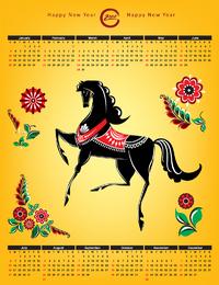 Calendar 2014 Whit Horse And Flower