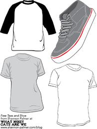 Turnschuhe und T-Shirt Schablonen-Vektor