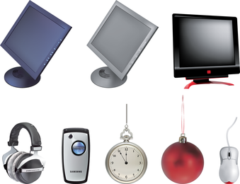 Monitor And Compass Vector