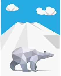 Vector libre de origami oso polar