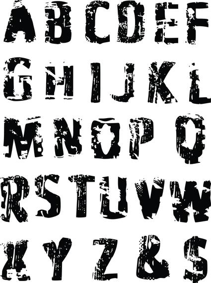 Las impresiones de neumáticos letras del alfabeto vector - Descargar ...