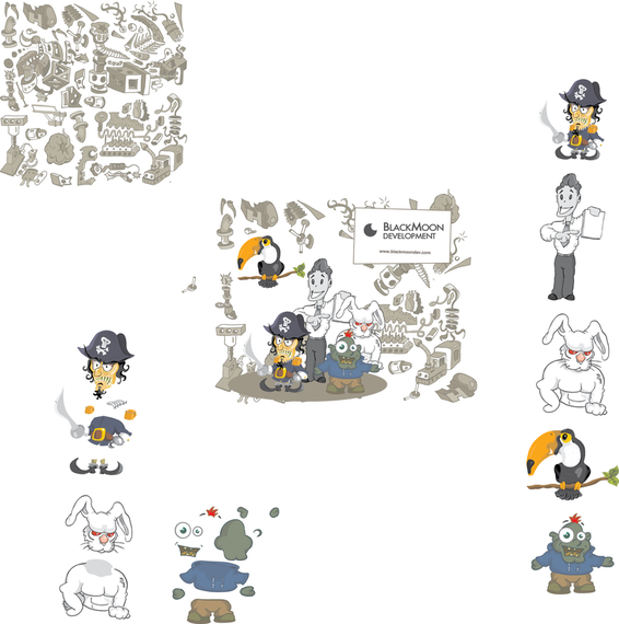Pirate character set with rabbit