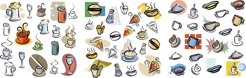 Hand Painted Food And Drink Vector Material