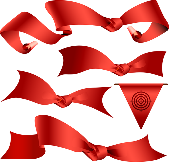 Vector Red Ribbon Material